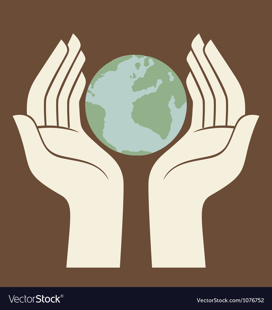 Earth protected by hands logo vector | Price: 1 Credit (USD $1)