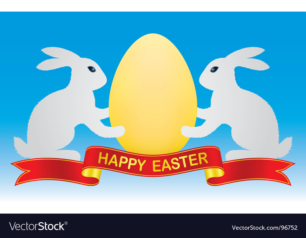 Easter bunny and egg vector | Price: 1 Credit (USD $1)