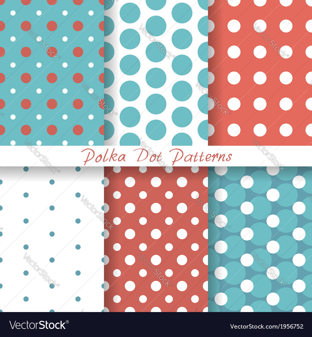 Pastel seamless patterns polka dot vector | Price: 1 Credit (USD $1)