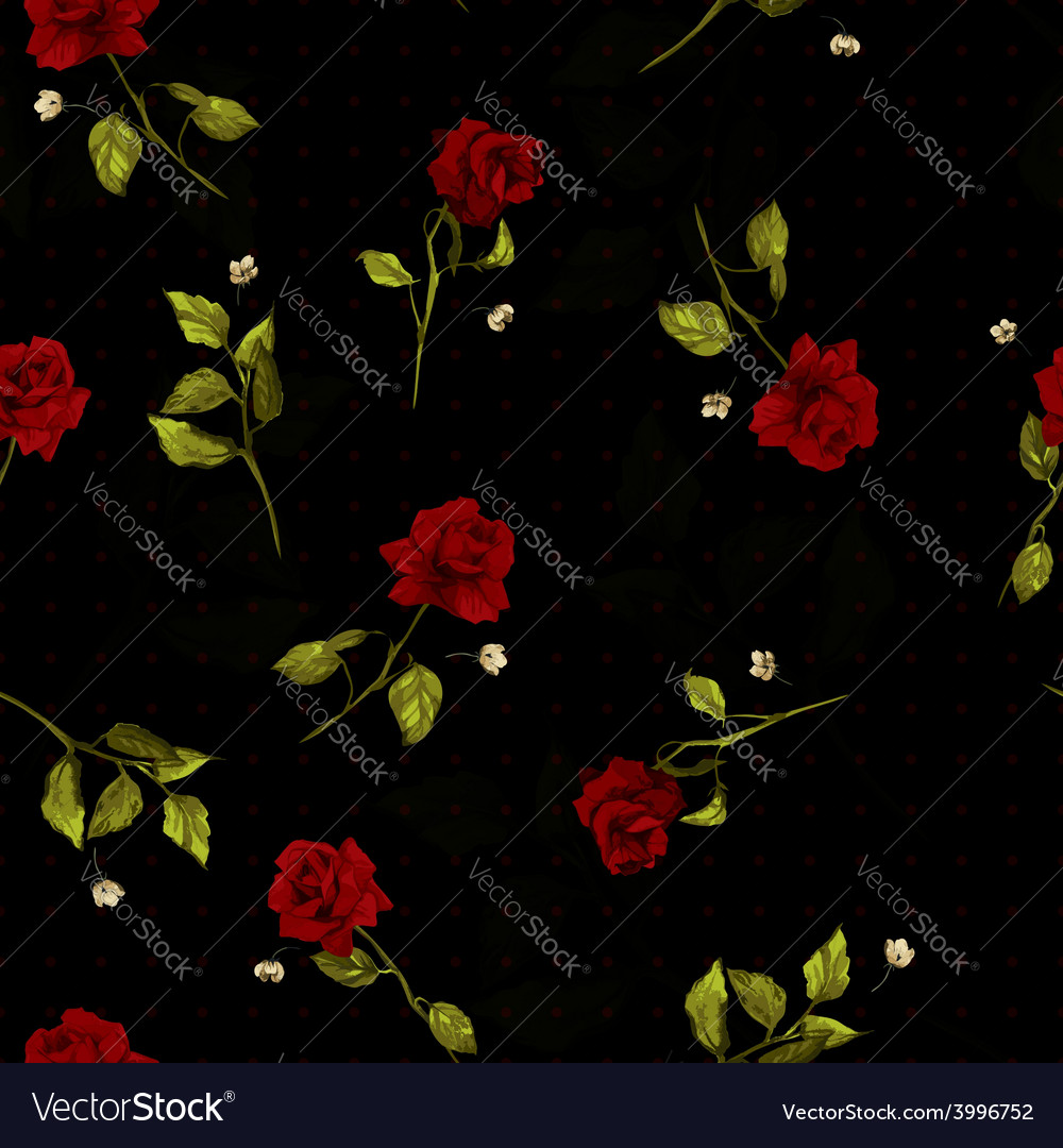 Seamless floral pattern with red roses on black vector | Price: 1 Credit (USD $1)