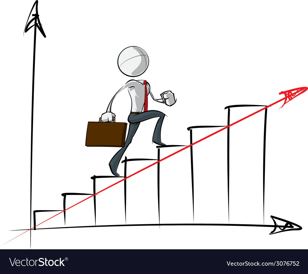 Simple business people steady growth chart vector | Price: 1 Credit (USD $1)