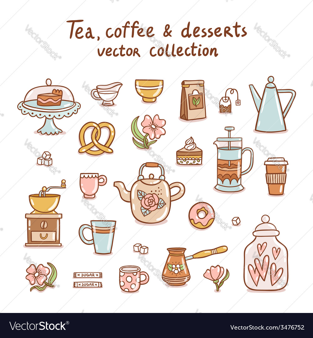 Tea coffee and desserts collection vector | Price: 1 Credit (USD $1)