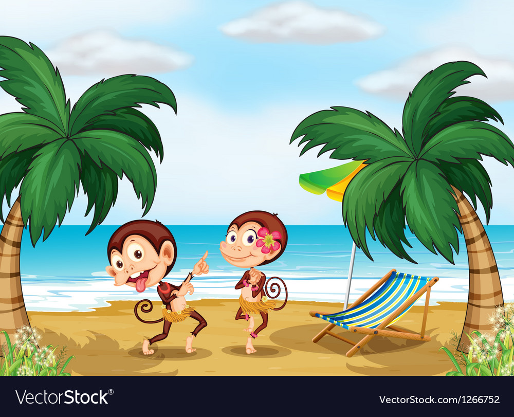 Two monkeys wearing a hawaiian attire vector | Price: 1 Credit (USD $1)