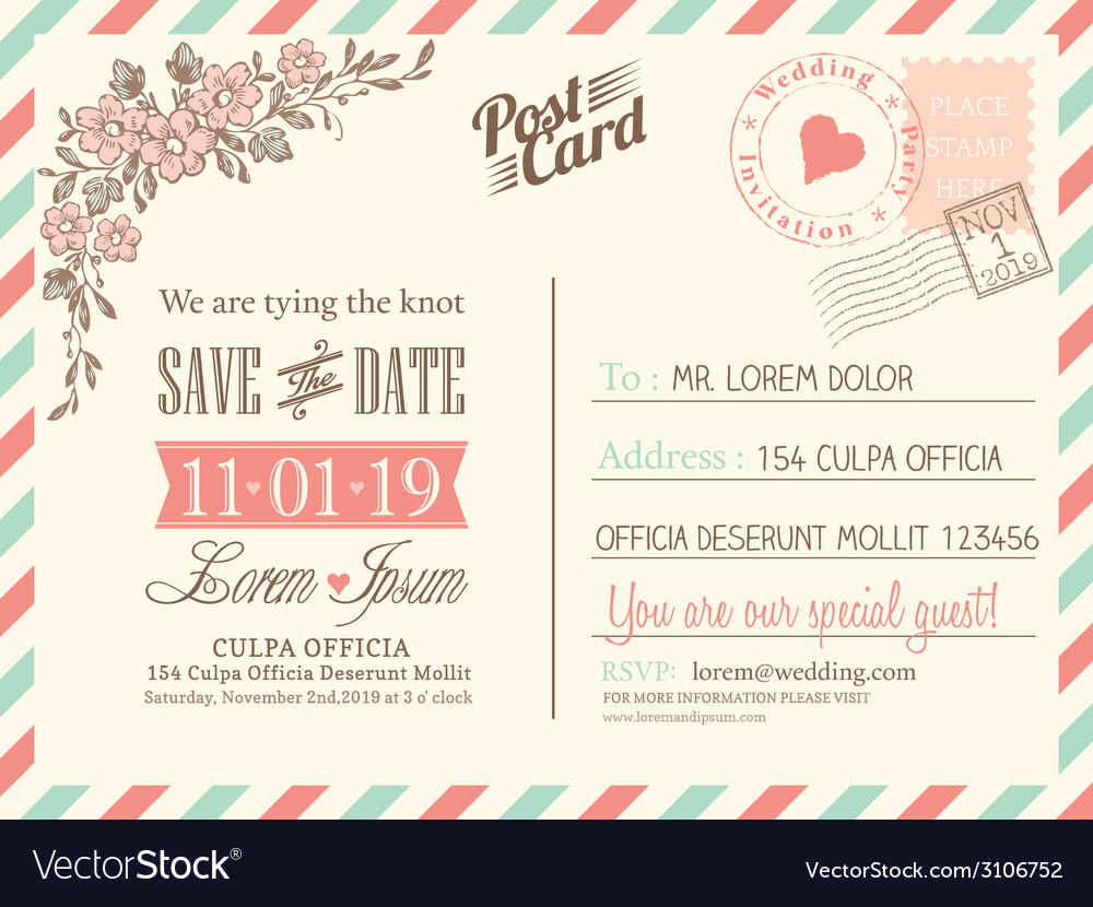 Vintage postcard background for wedding invitation vector | Price: 1 Credit (USD $1)