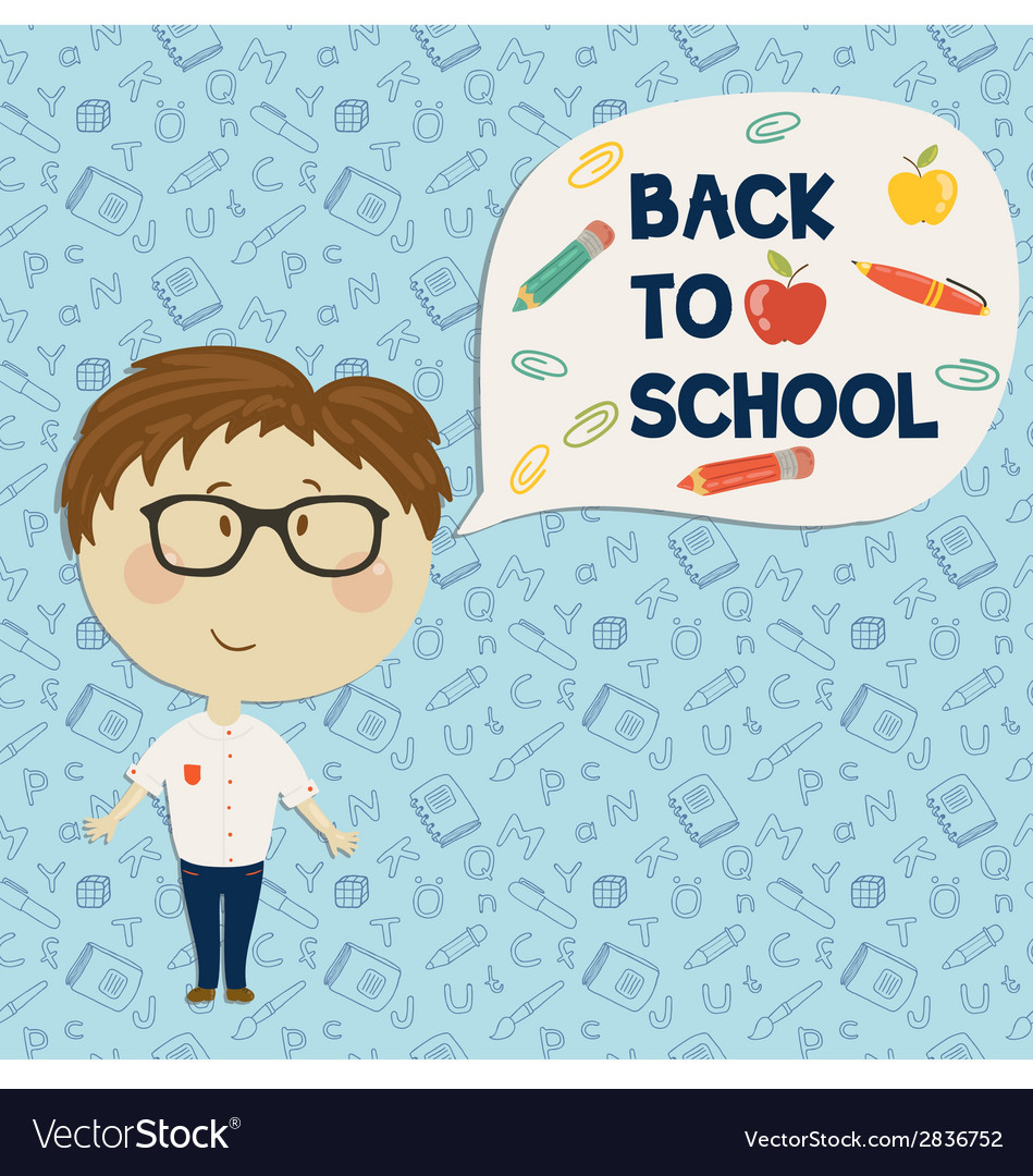 Young boy in glasses holding say back to school vector | Price: 1 Credit (USD $1)