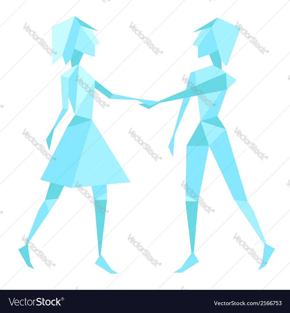 Abstract polygon couple holding habds vector | Price: 1 Credit (USD $1)