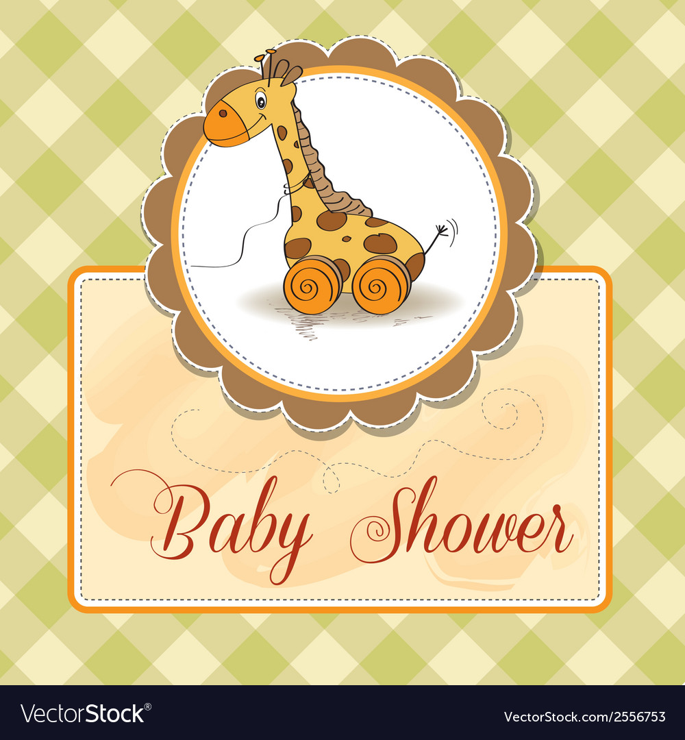 Baby shower card with cute giraffe vector | Price: 1 Credit (USD $1)