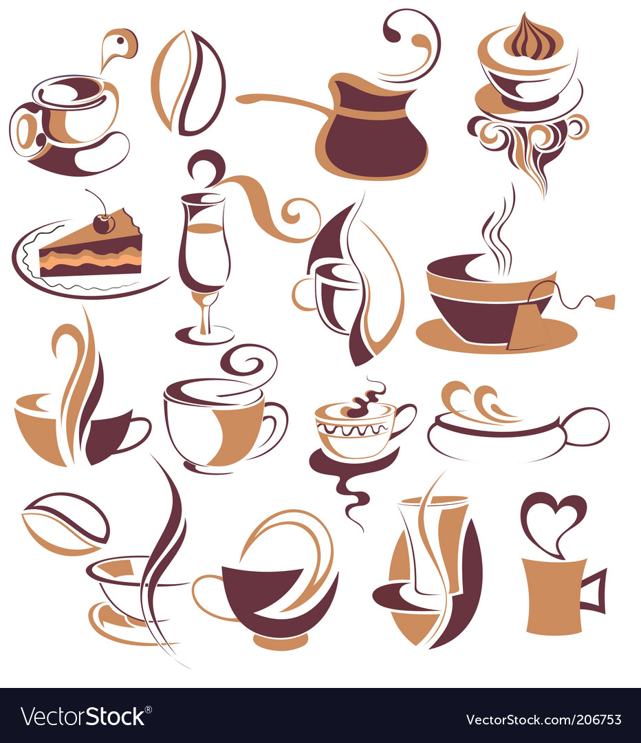 Big set of coffeetea elements vector | Price: 1 Credit (USD $1)