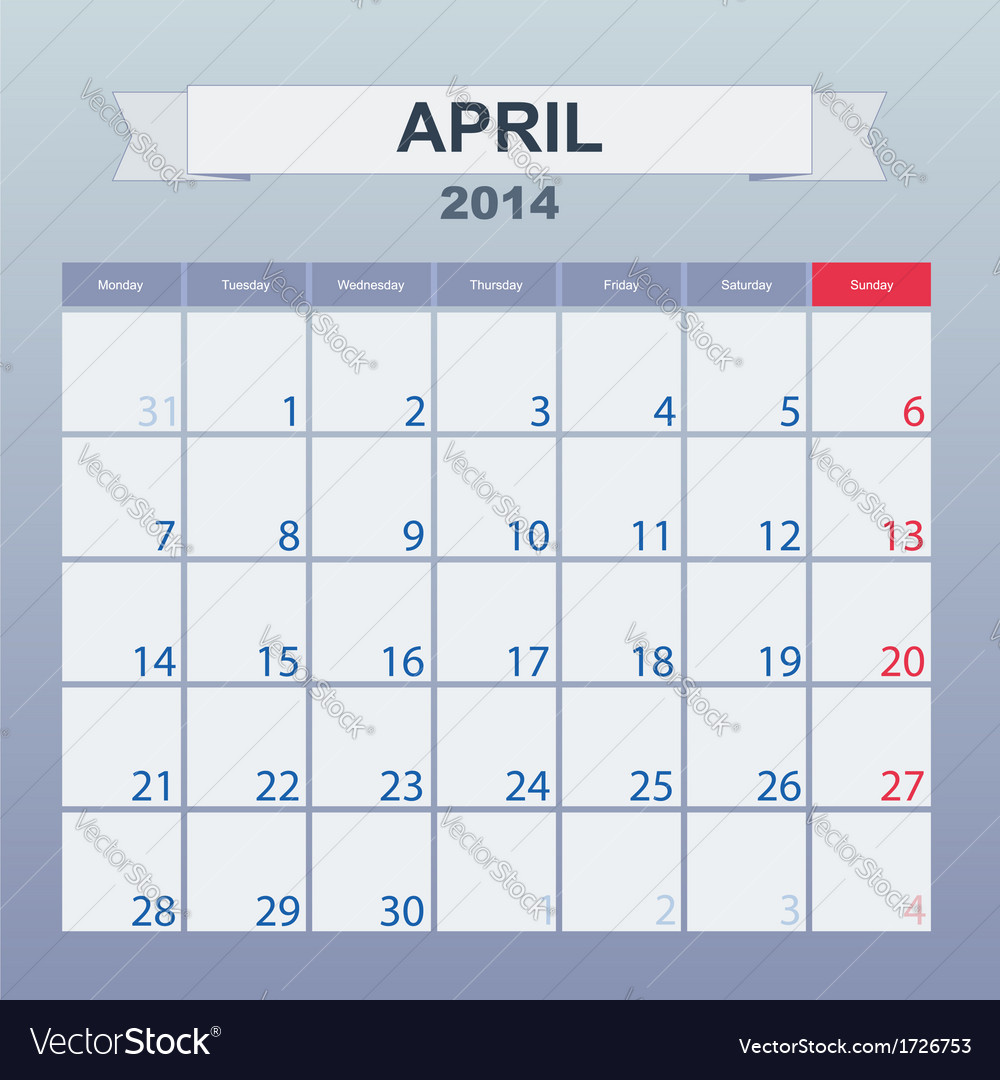 Calendar to schedule monthly april 2014 vector | Price: 1 Credit (USD $1)