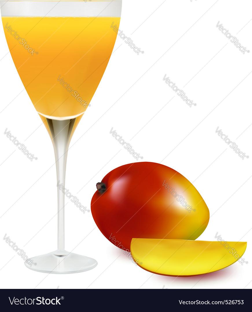 Glass with mango juice vector | Price: 1 Credit (USD $1)