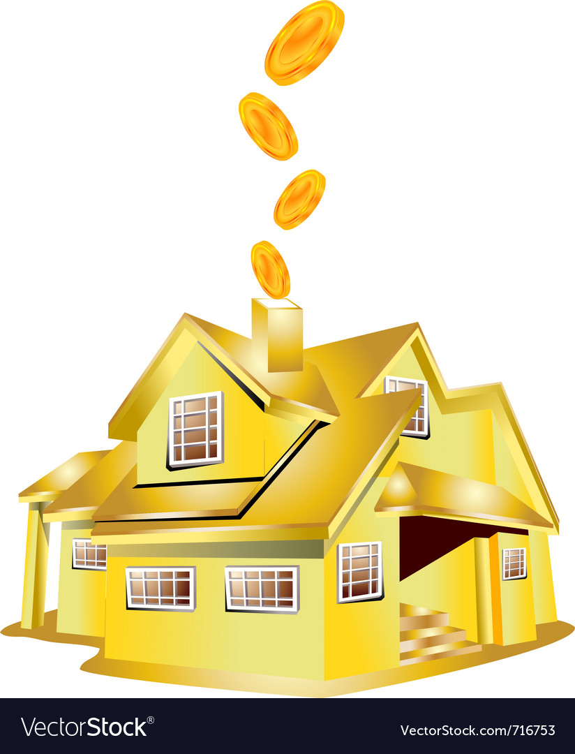 Gold house vector | Price: 1 Credit (USD $1)