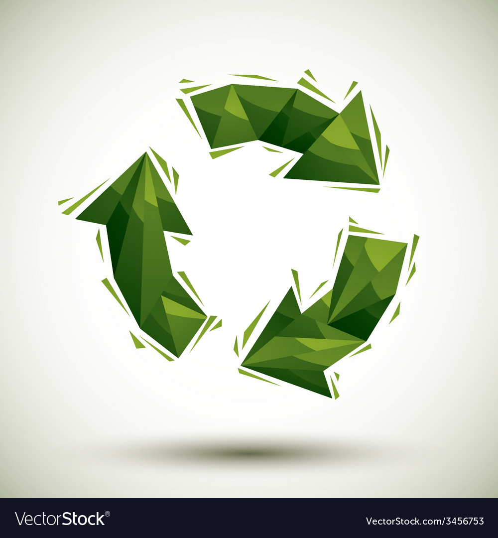 Green recycle geometric icon made in 3d modern vector | Price: 1 Credit (USD $1)