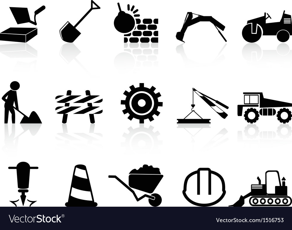 Heavy construction icons set vector | Price: 1 Credit (USD $1)