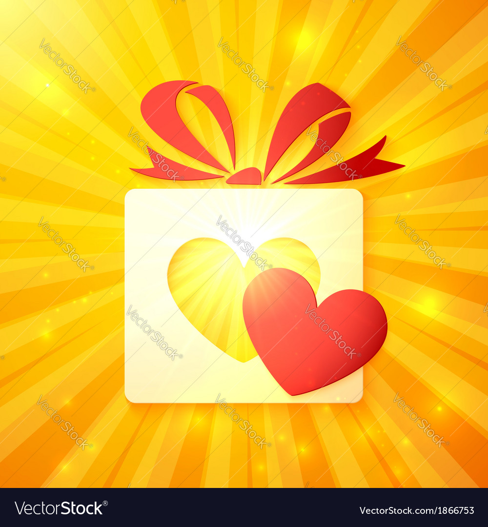 Paper gift box with cutout red heart vector | Price: 1 Credit (USD $1)