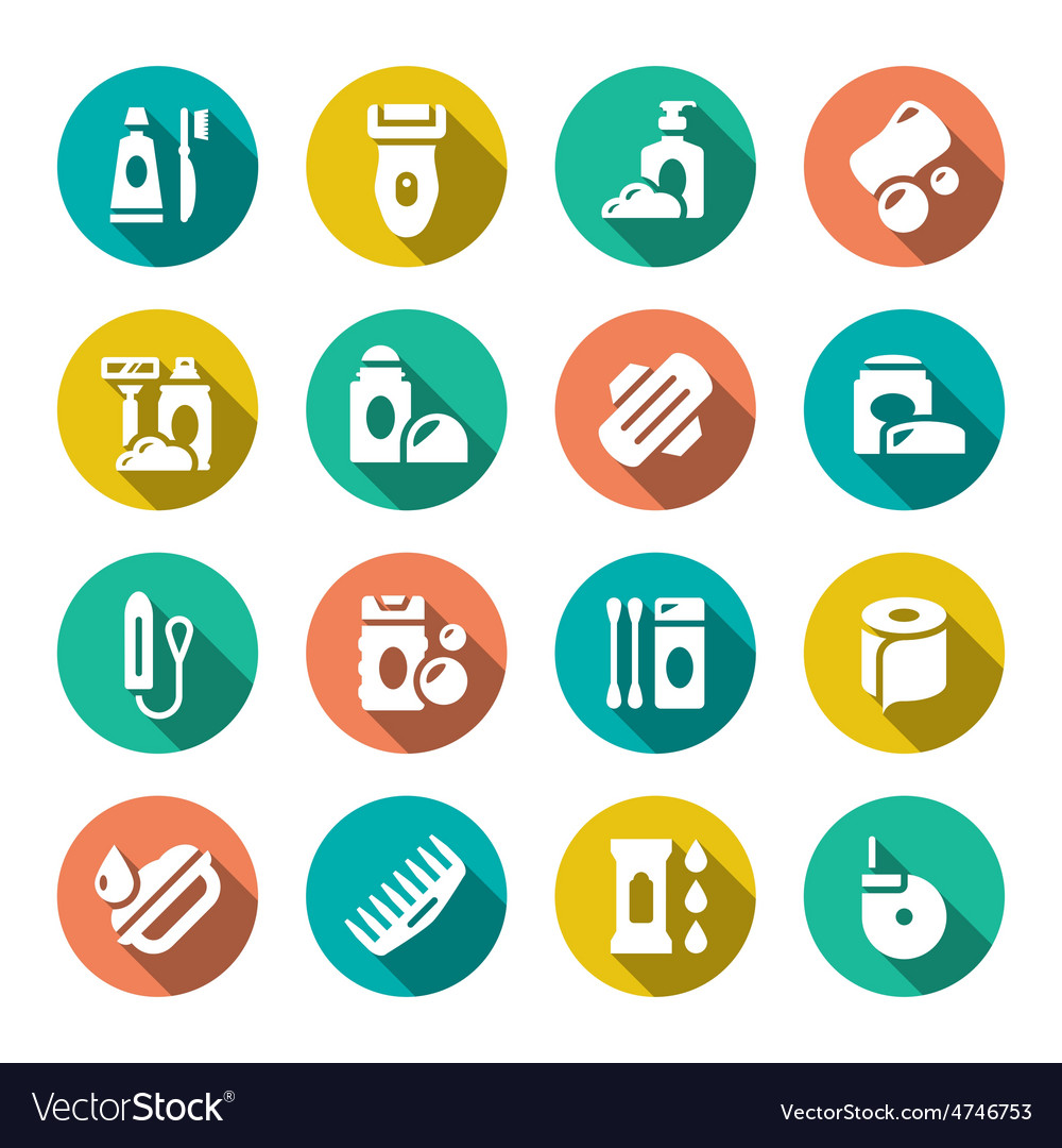 Set flat icons of hygiene vector | Price: 1 Credit (USD $1)