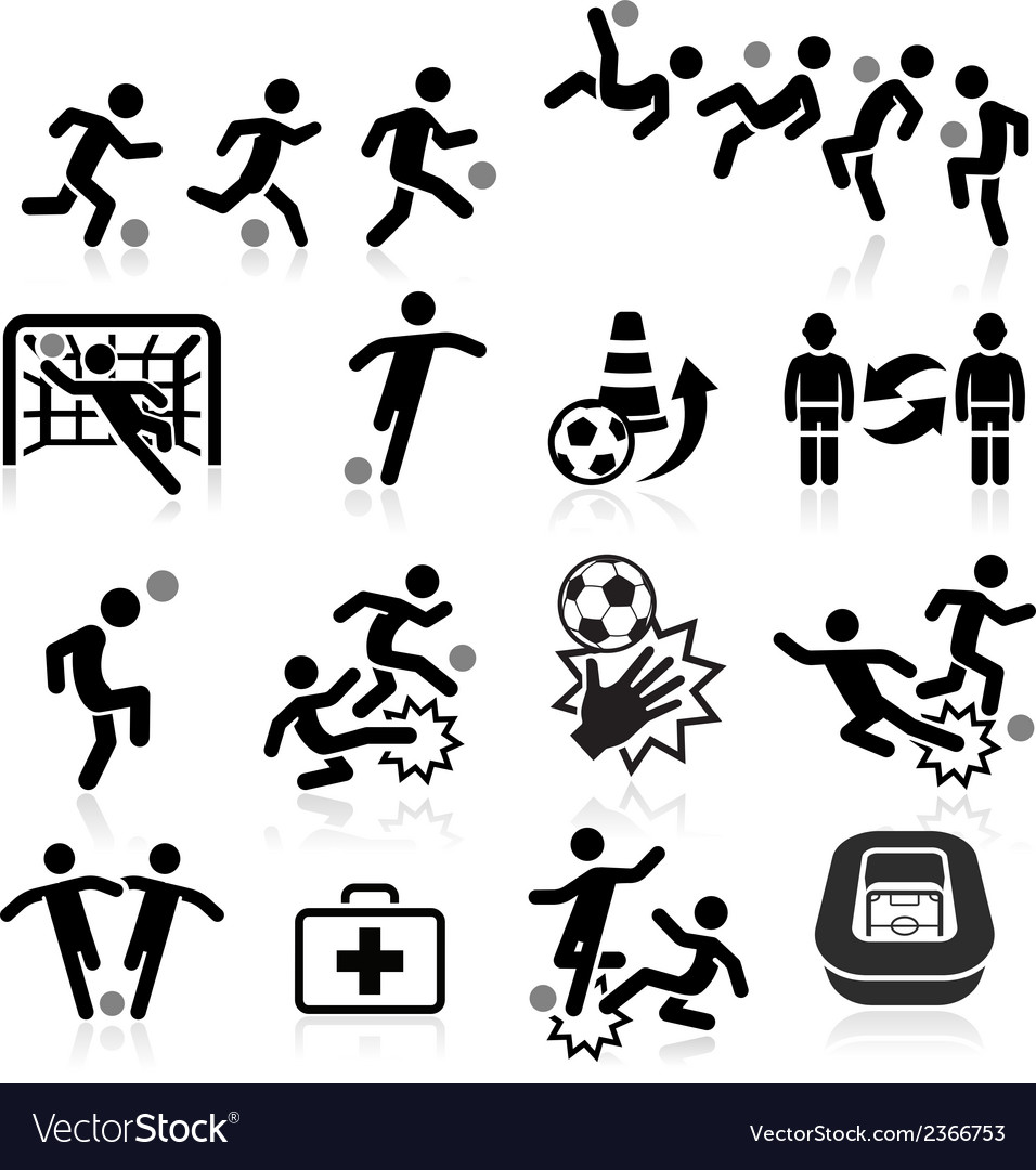 Soccer player icons set vector | Price: 1 Credit (USD $1)
