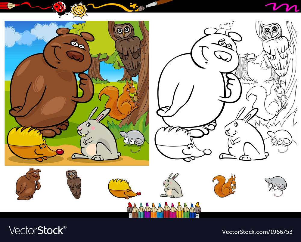 Wild animals coloring page set vector | Price: 1 Credit (USD $1)