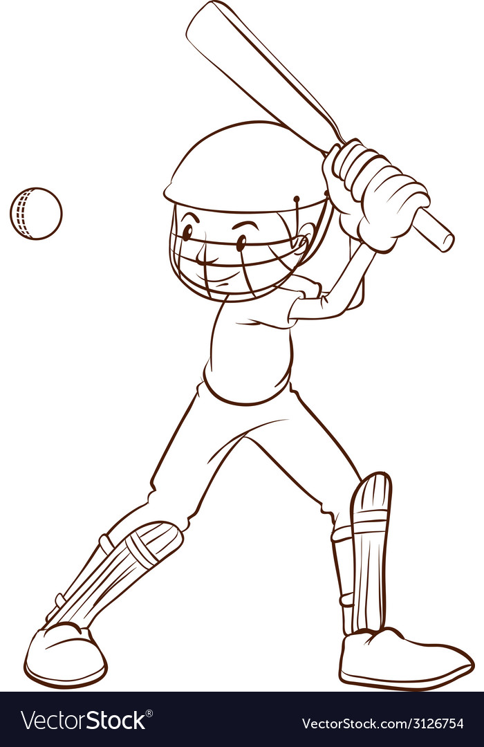 A plain sketch of a cricket player vector | Price: 1 Credit (USD $1)