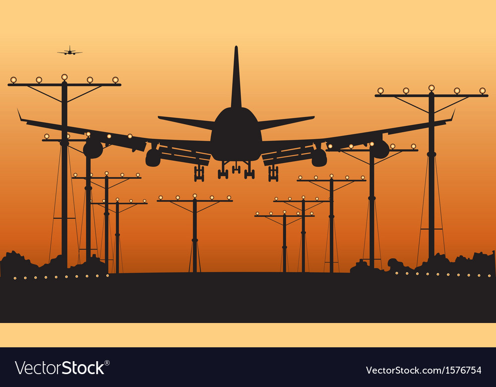 Airliner landing at sunset vector | Price: 1 Credit (USD $1)