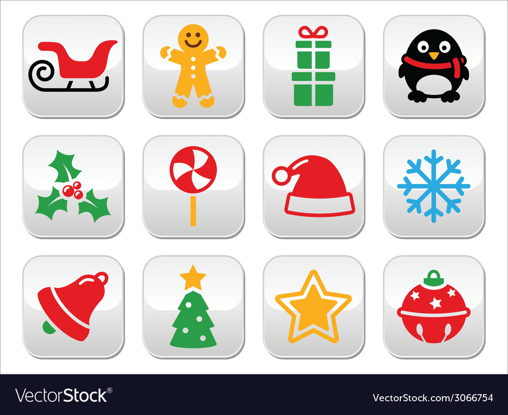 Christmas buttons set - santa xmas tree present vector | Price: 1 Credit (USD $1)