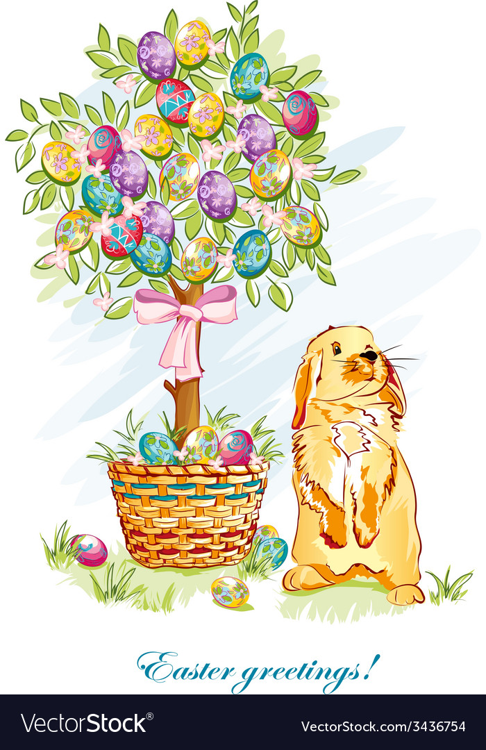 Easter card with rabbit and basket vector | Price: 3 Credit (USD $3)