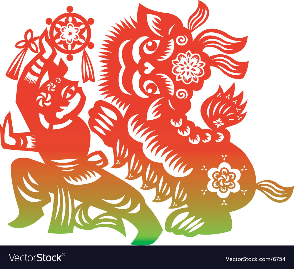 Lion dance vector | Price: 1 Credit (USD $1)