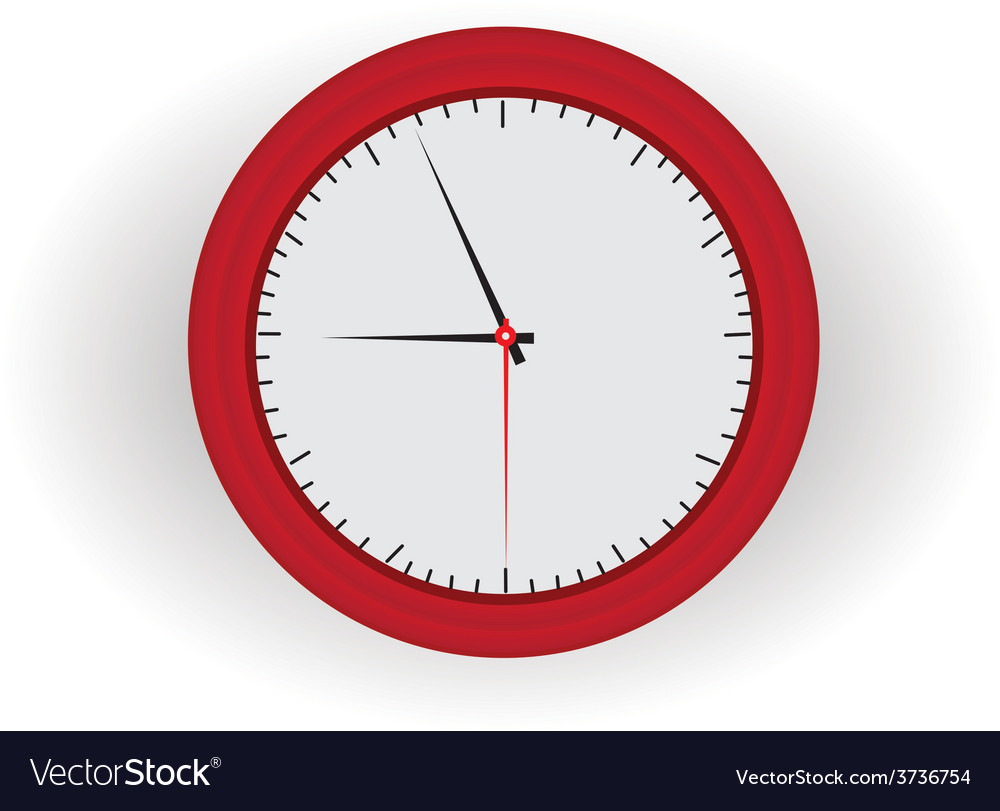 Red clock vector | Price: 1 Credit (USD $1)