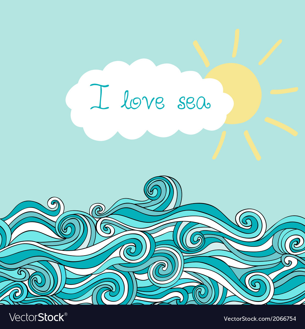 Sea with sun and cloud maritime background with pl vector | Price: 1 Credit (USD $1)