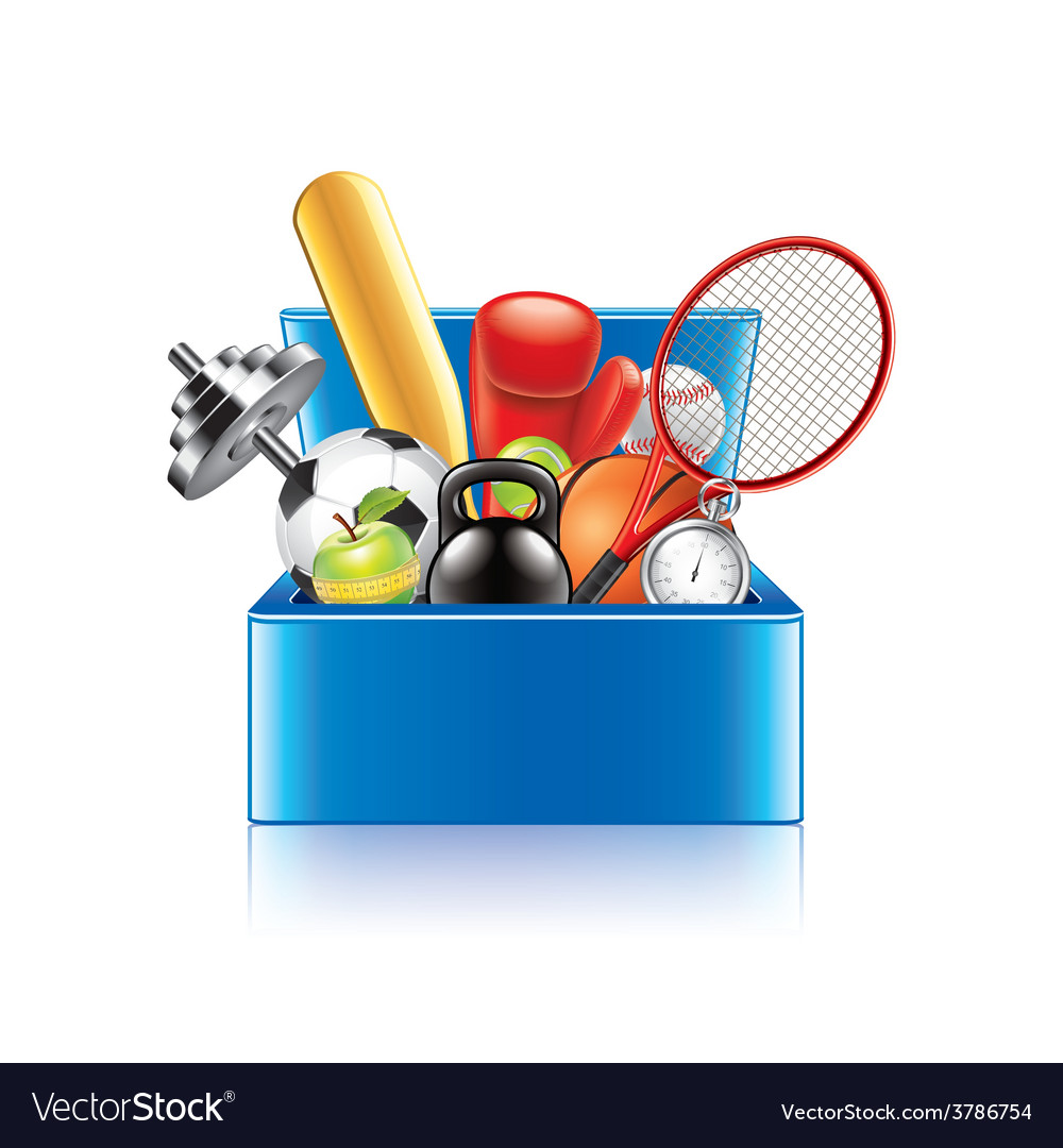 Sport objects box isolated vector | Price: 3 Credit (USD $3)