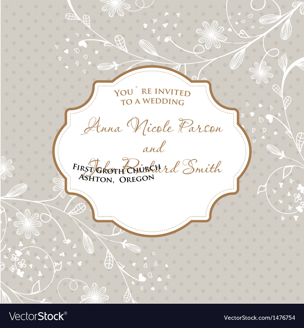 Wedding card with flowers on polka dot background vector | Price: 1 Credit (USD $1)