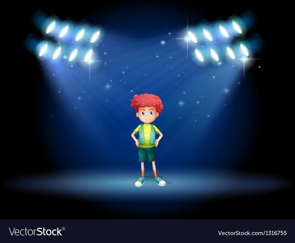 A stage with a young boy vector | Price: 1 Credit (USD $1)