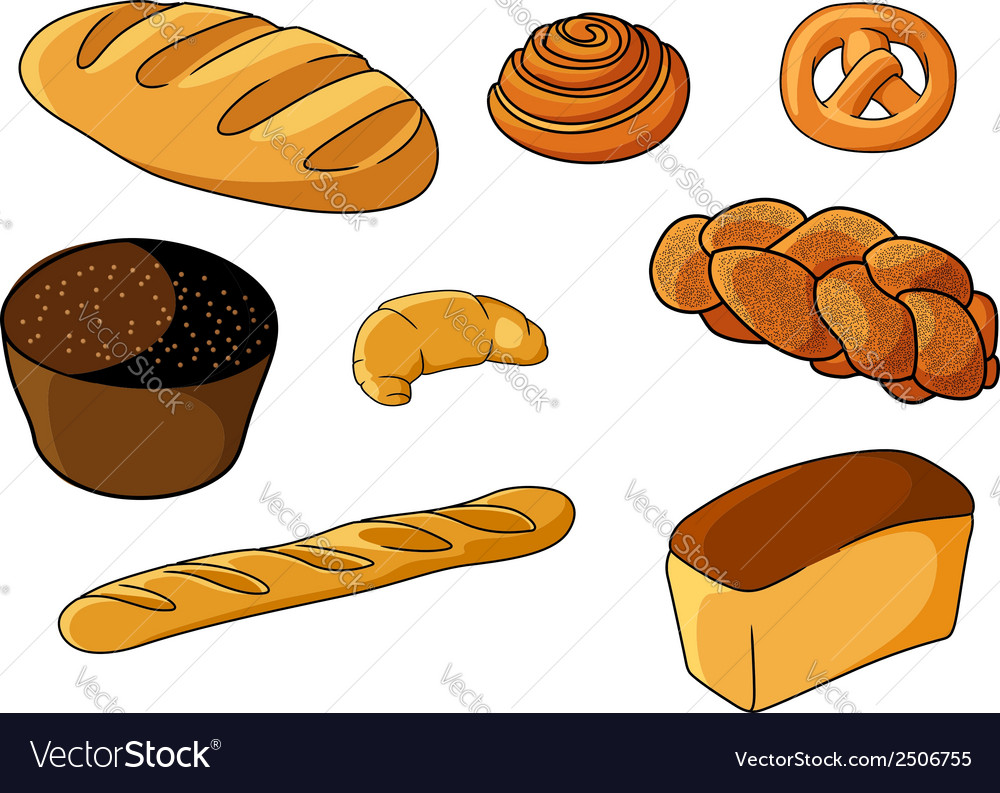 Assorted fresh cartoon bakery set vector | Price: 1 Credit (USD $1)