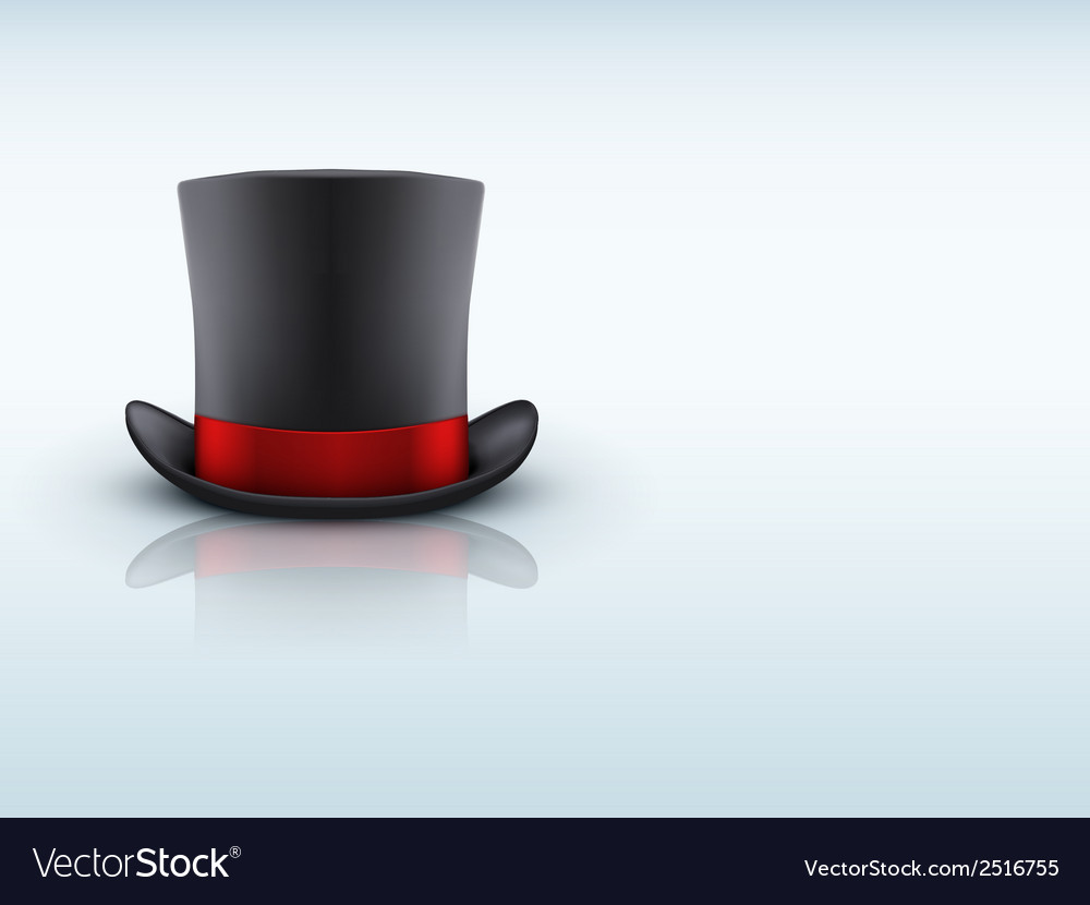 Black gentleman hat cylinder and red ribbon vector | Price: 1 Credit (USD $1)