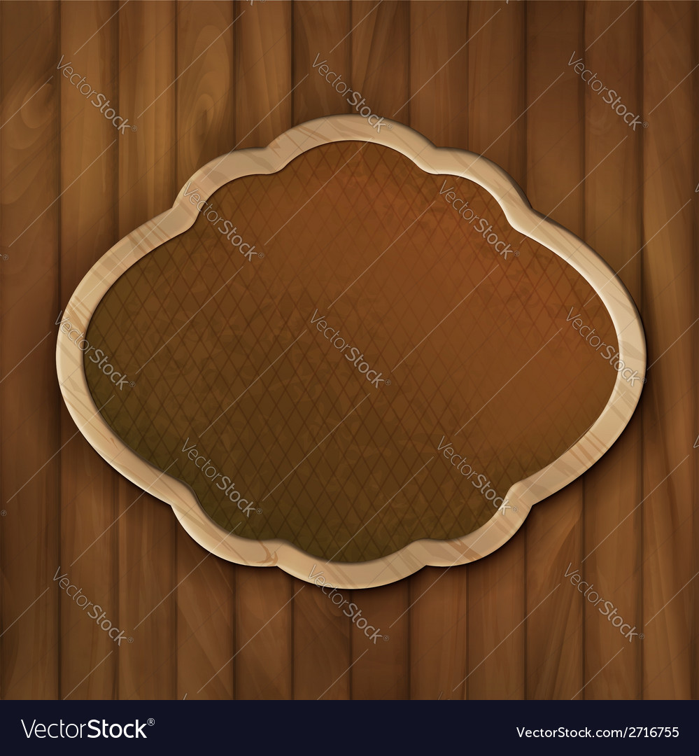 Board frame on wood wall vector | Price: 1 Credit (USD $1)