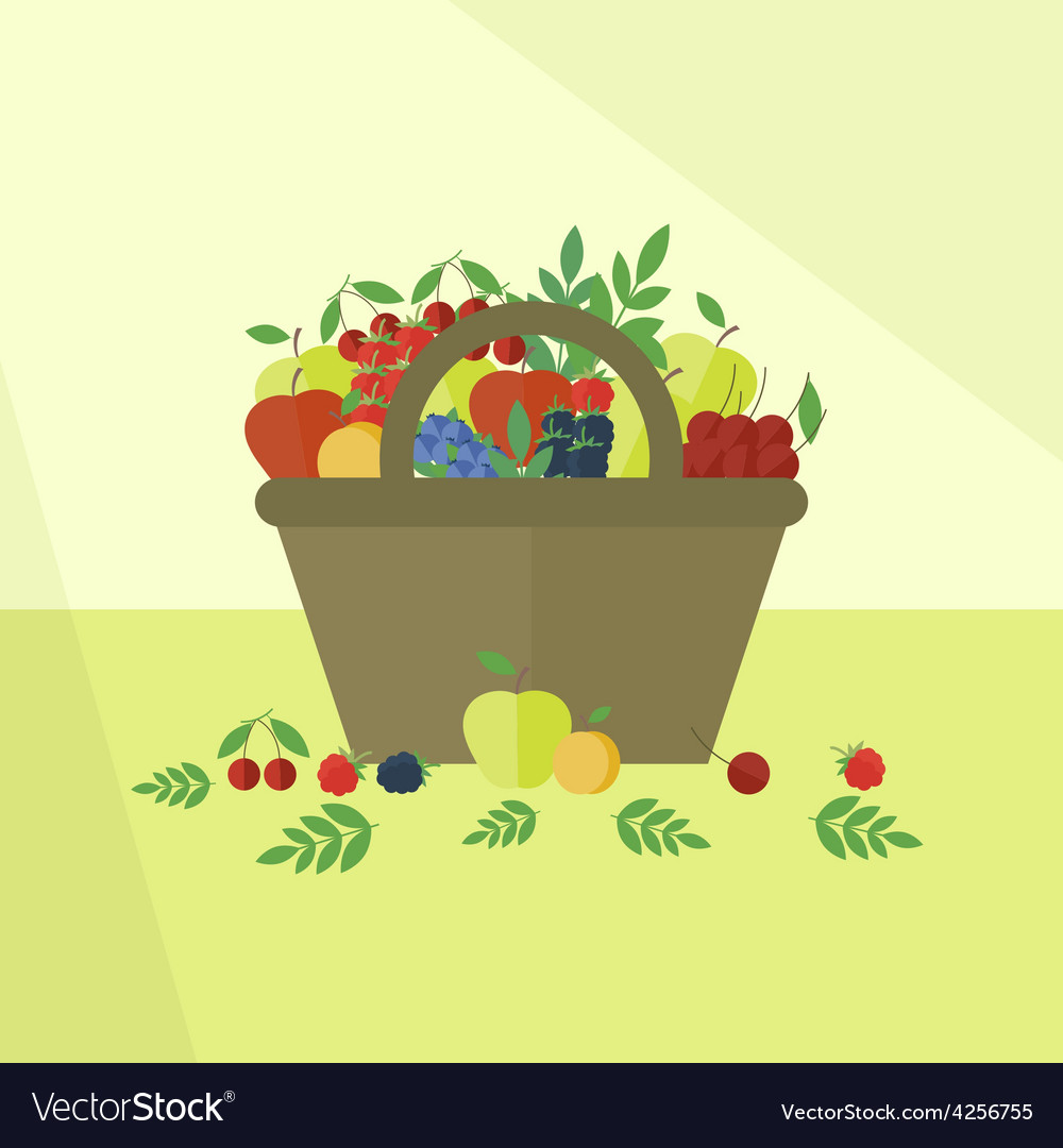 Card with fruits and berries in flat style vector | Price: 1 Credit (USD $1)