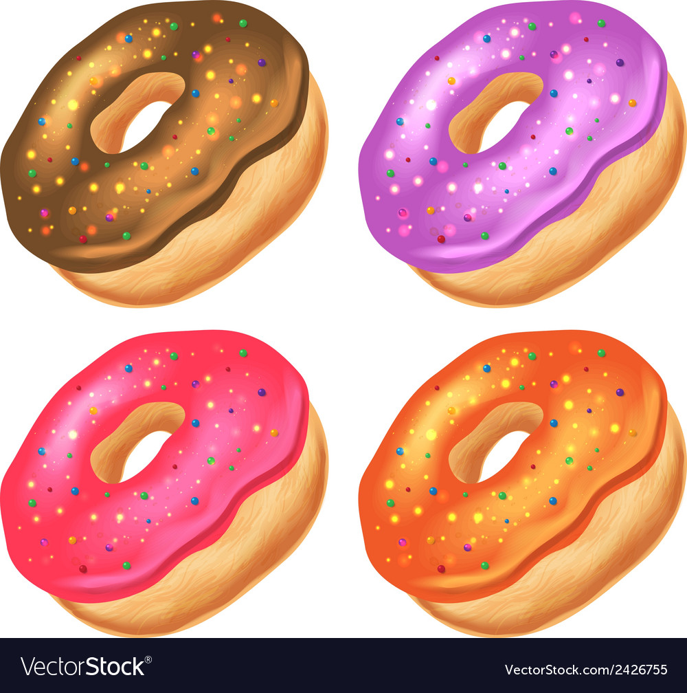 Donuts with icing on a white background vector | Price: 1 Credit (USD $1)