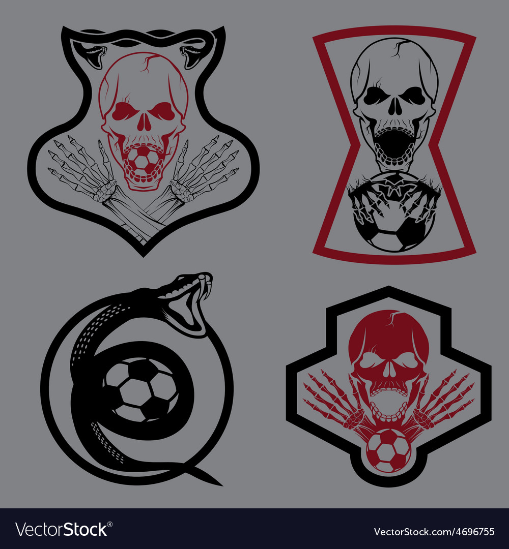 Football team crests set with snake and skulls vector | Price: 1 Credit (USD $1)