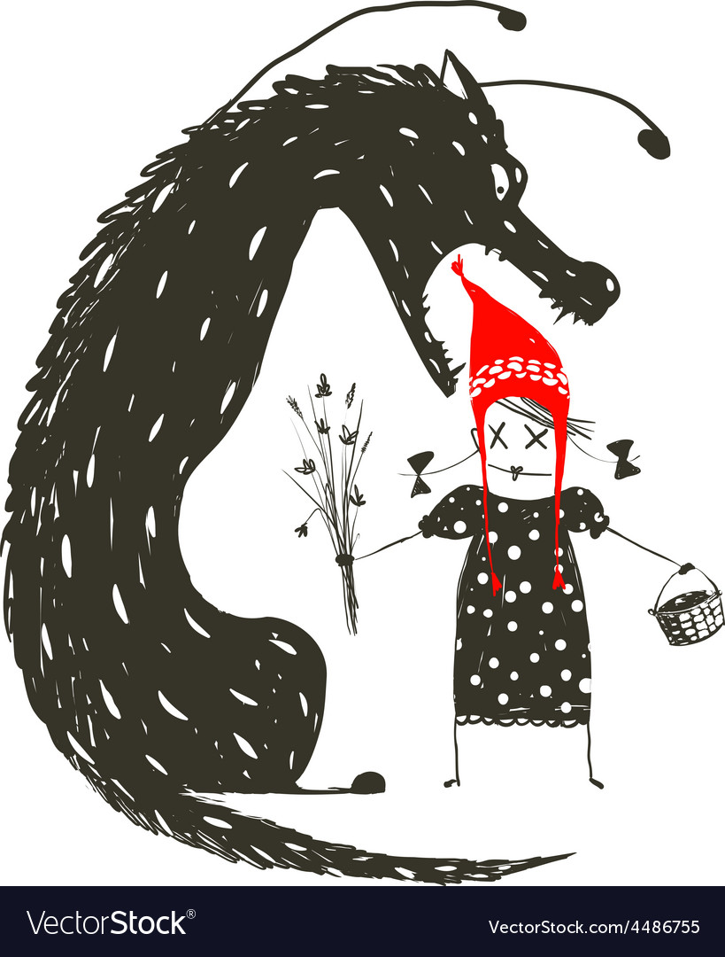 Little red riding hood and black scary wolf vector | Price: 1 Credit (USD $1)