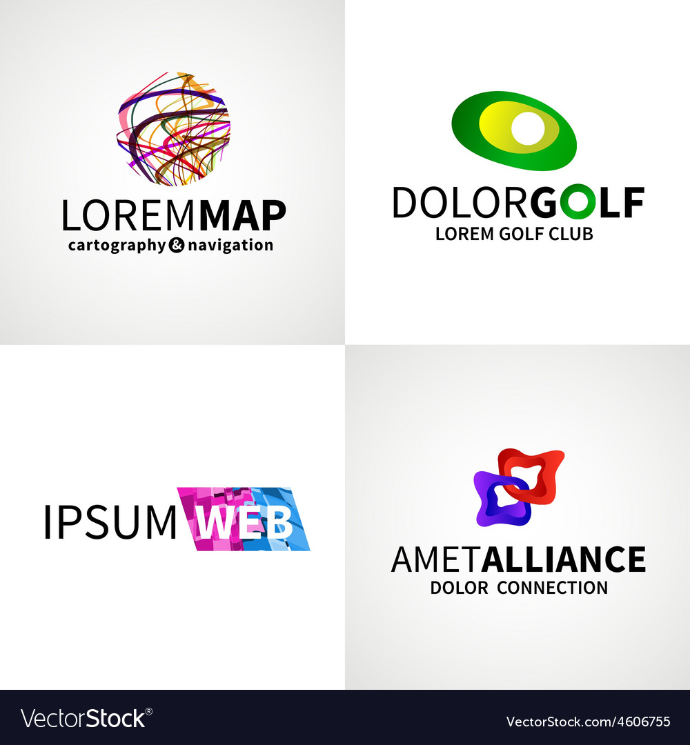Set of modern colorful abstract web alliance golf vector   Price: 1 Credit (USD $1)