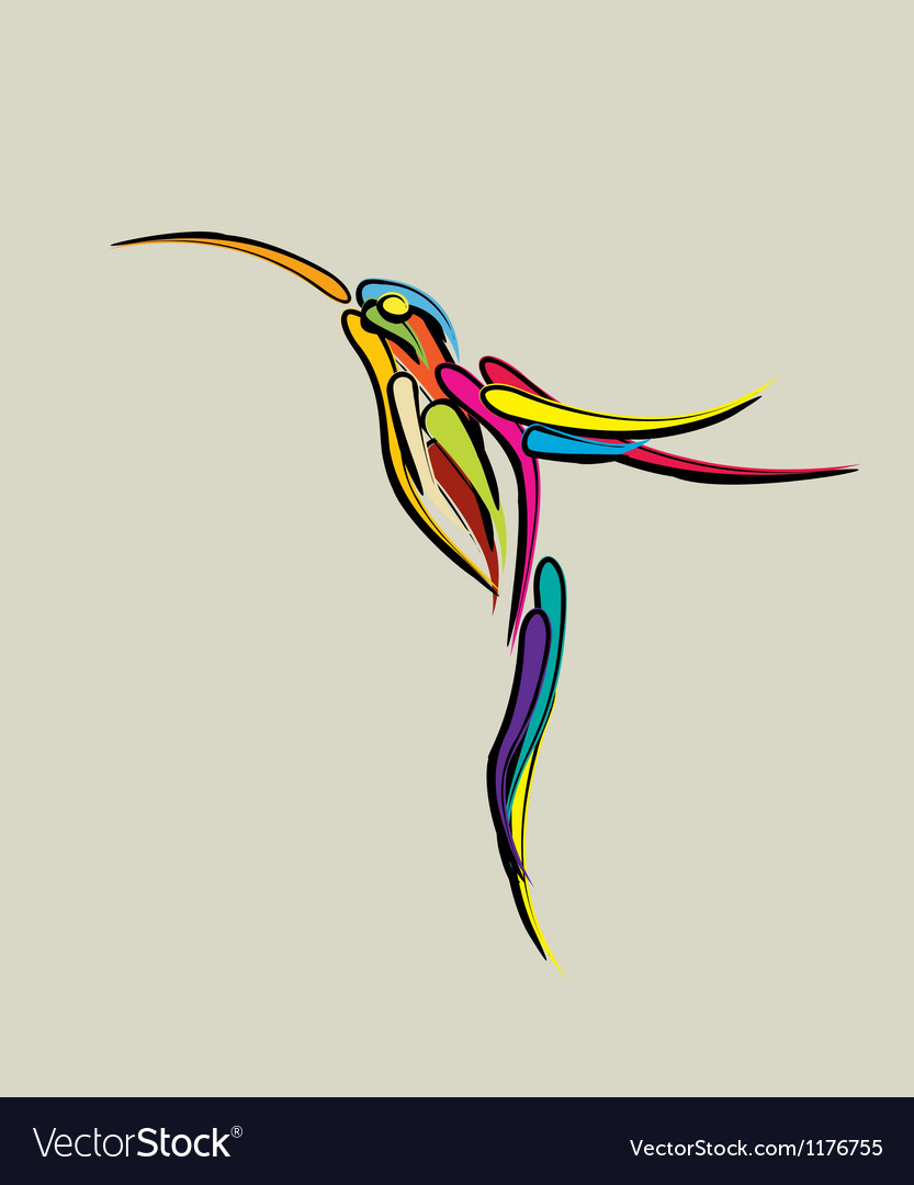 Stylized humming bird vector | Price: 1 Credit (USD $1)