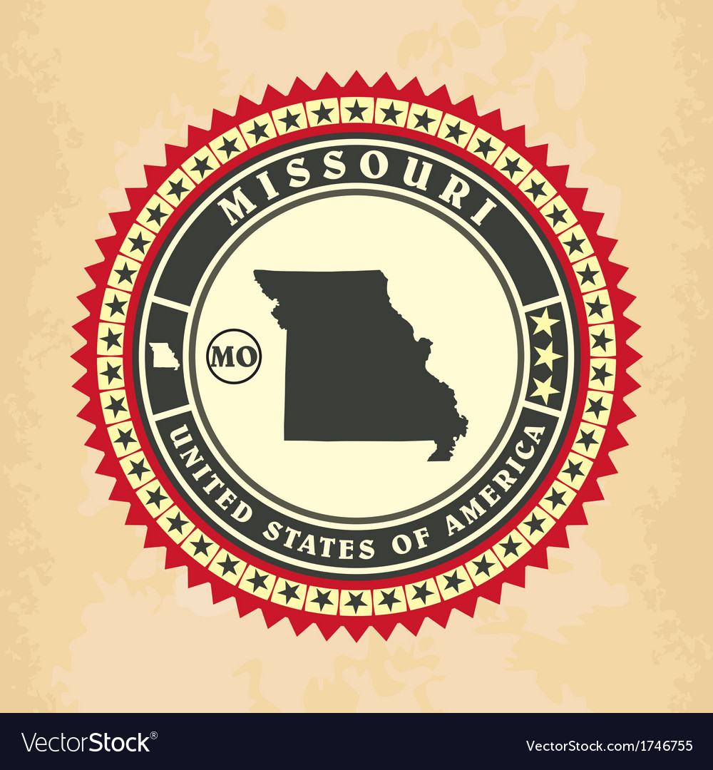 Vintage label-sticker cards of missouri vector | Price: 1 Credit (USD $1)
