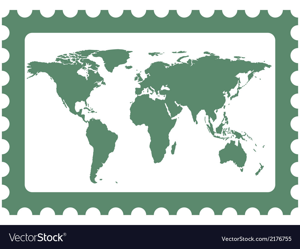 World map on stamp vector | Price: 1 Credit (USD $1)