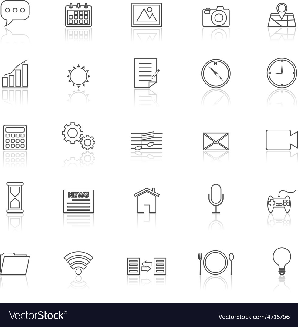 Application line icons with reflect on white vector | Price: 1 Credit (USD $1)