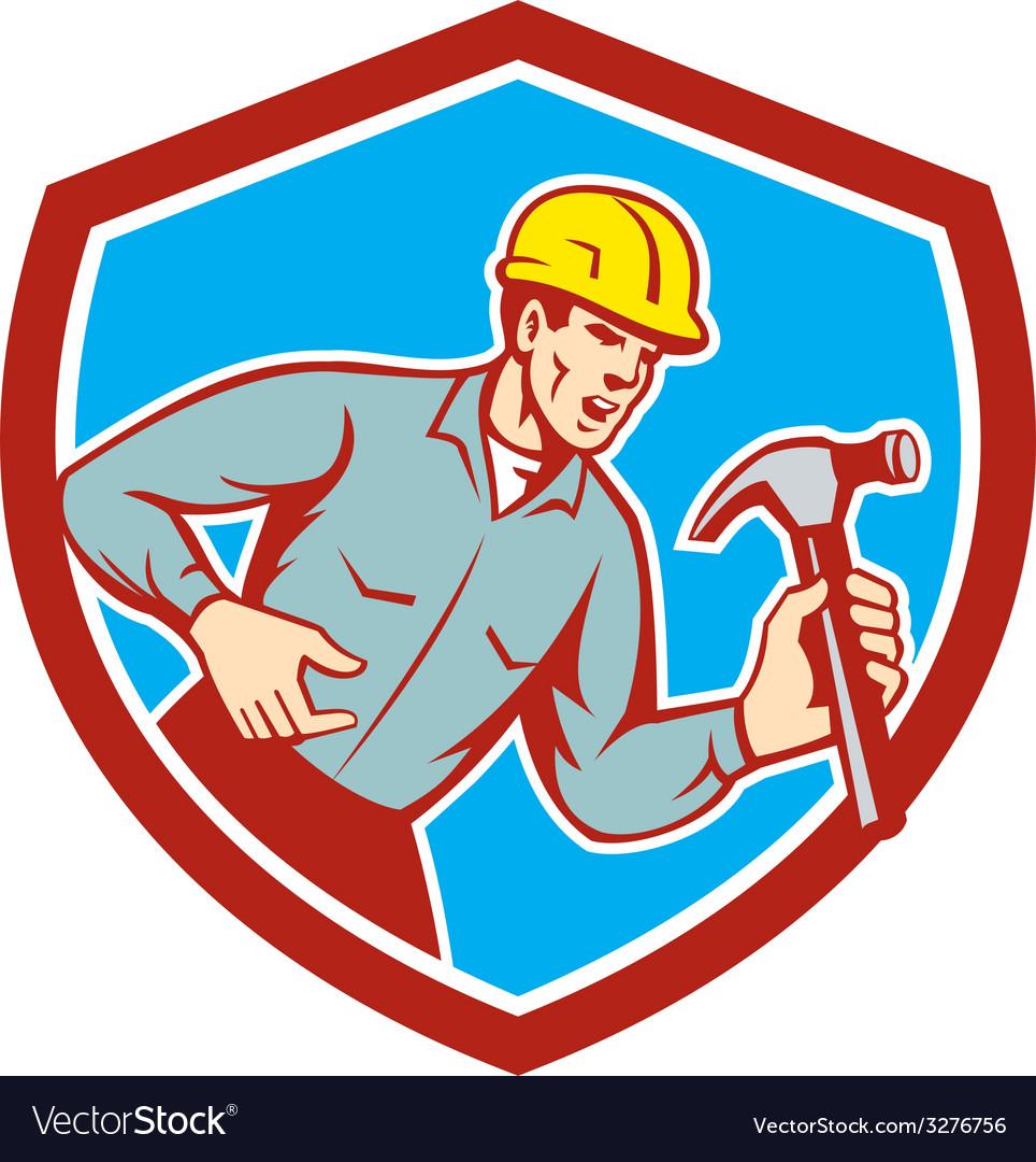 Builder carpenter shouting hammer shield retro vector | Price: 1 Credit (USD $1)