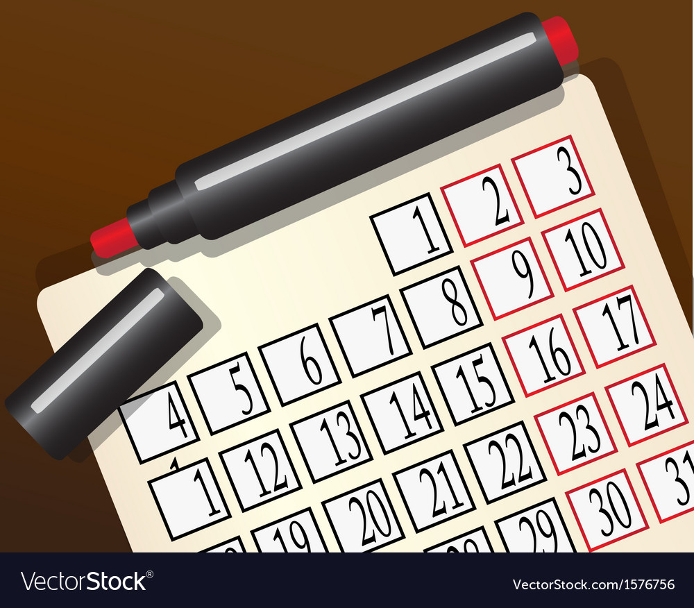 Calendar and a red marker vector | Price: 1 Credit (USD $1)