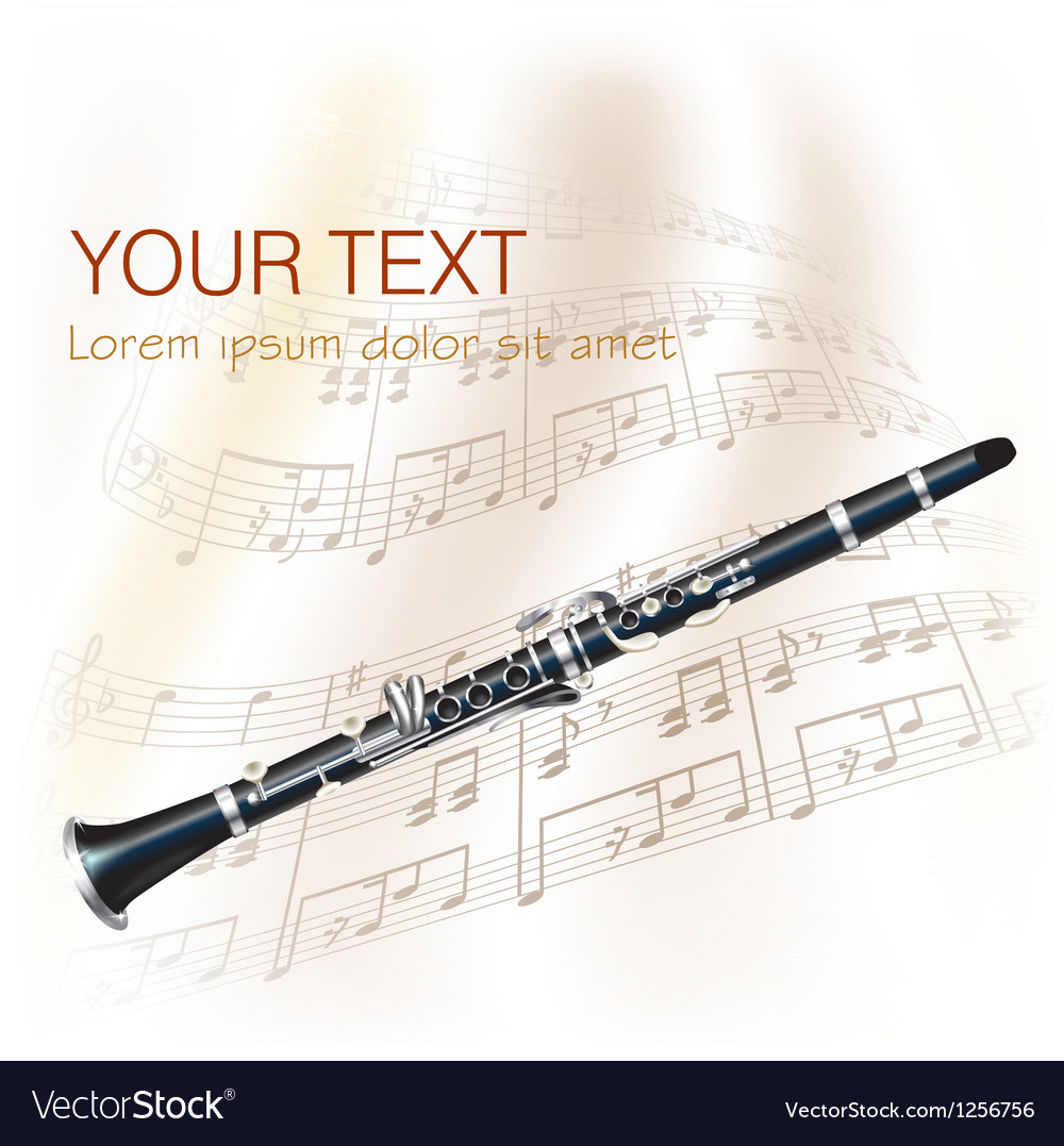 Classical clarinet with musical notes vector | Price: 1 Credit (USD $1)