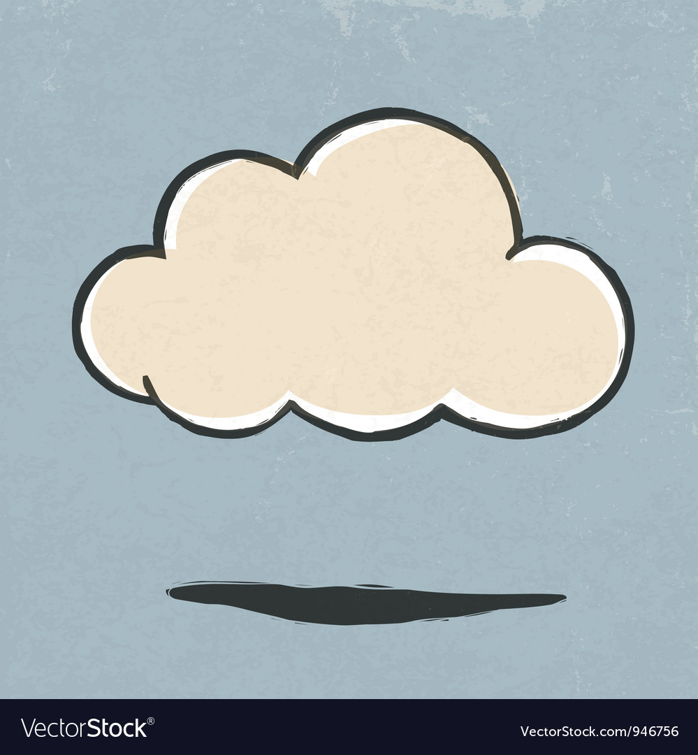 Cloud symbol retro vector | Price: 1 Credit (USD $1)