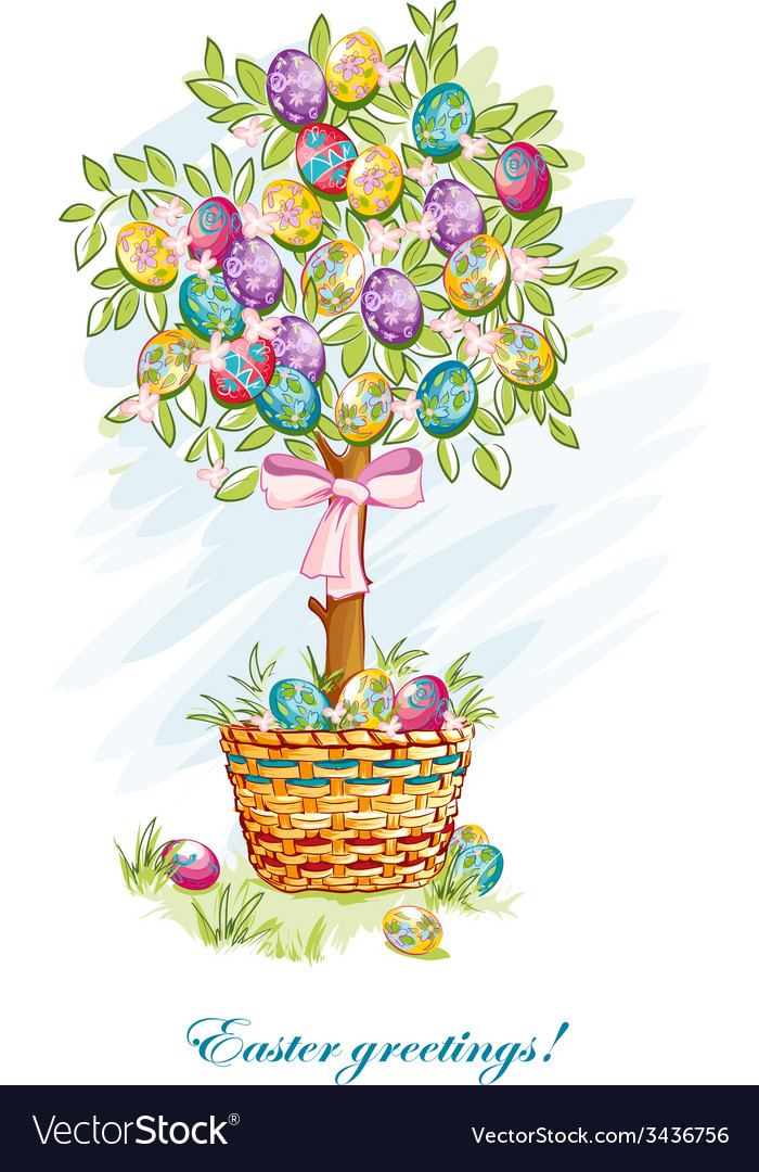 Festive postcard with easter eggs and baskets vector | Price: 3 Credit (USD $3)