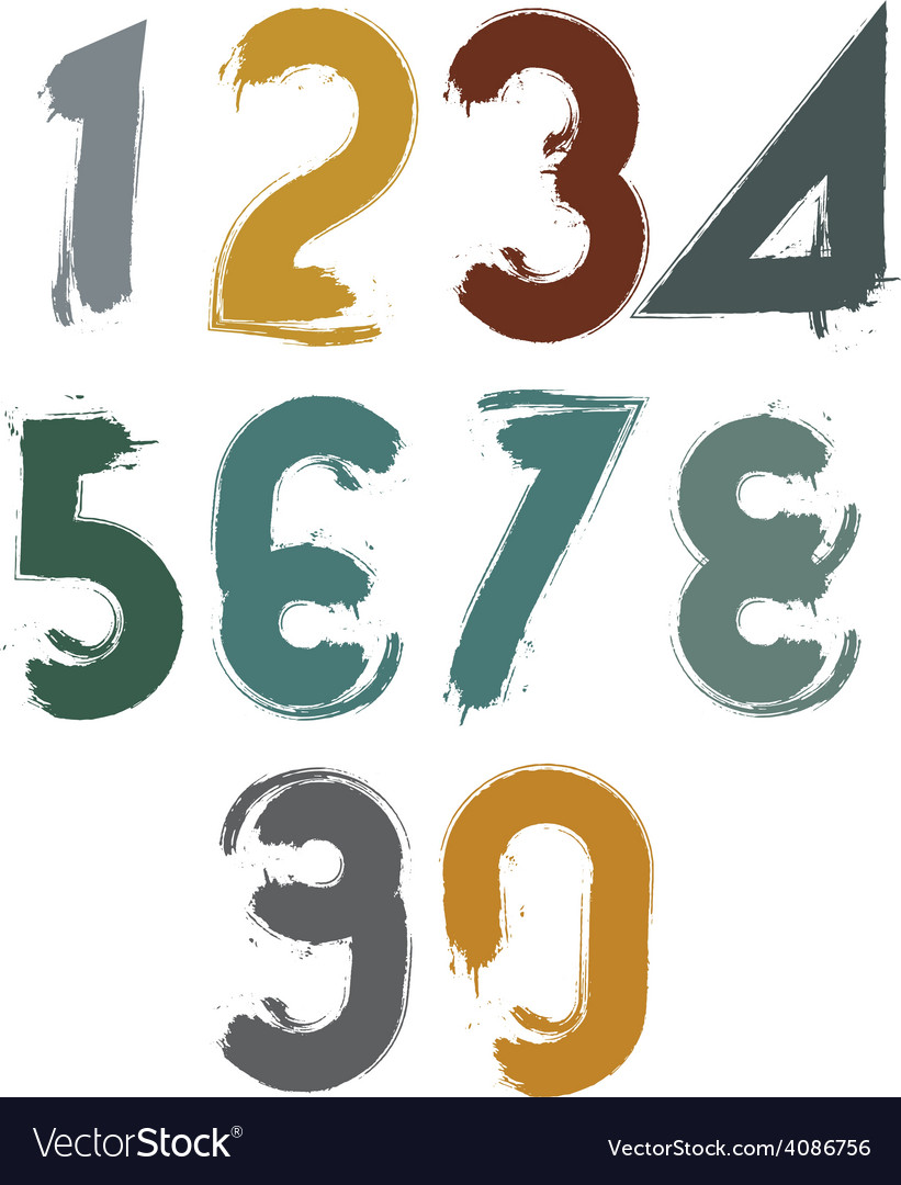 Handwritten colorful numbers stylish numbers set vector | Price: 1 Credit (USD $1)