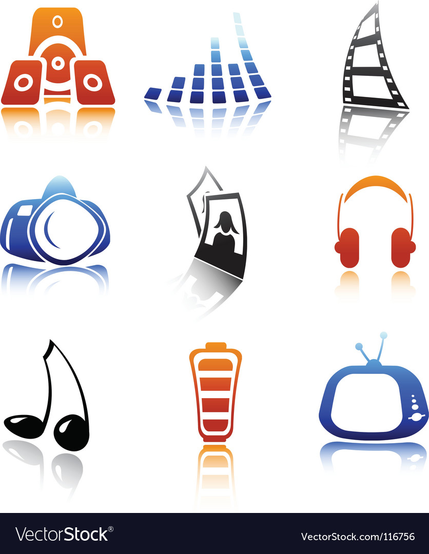Icons media vector | Price: 1 Credit (USD $1)